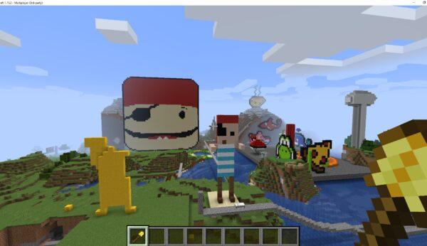 Byg et Coding Pirates-univers i Minecraft